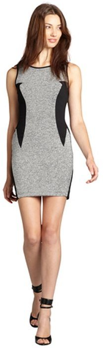Casual Couture by Green Envelope grey and black colorblocked sleeveless shift dress