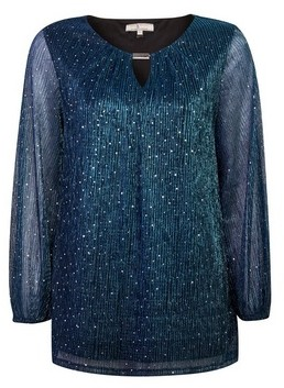 Dorothy Perkins Womens Billie & Blossom Tall Blue Plisse Glitter Trim Blouse, Blue