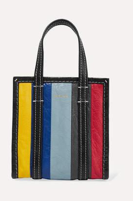 Balenciaga Bazar Xxs Striped Textured-leather Tote - Blue
