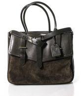 Reed Krakoff Brown Suede Leather Two Strap Open Top Gold Tone Shoulder Handbag