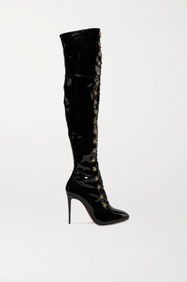 Christian Louboutin Frenchissima Alta 100 Patent-leather Over-the-knee Boots - Black