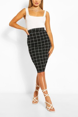 boohoo Grid flannel Pencil Skirt