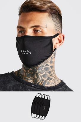 boohoo Mens Black 4 Pack MAN Dash Reversible Fashion Masks, Black