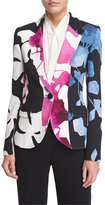 Escada Orchid-Print One-Button Jacket, Off White
