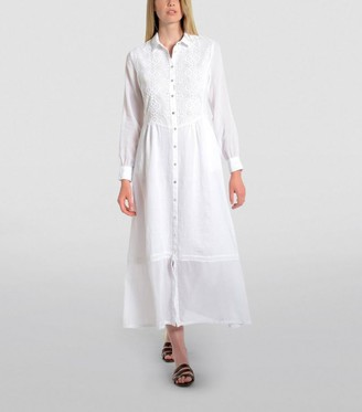 120% Lino Embroidered Shirt Dress
