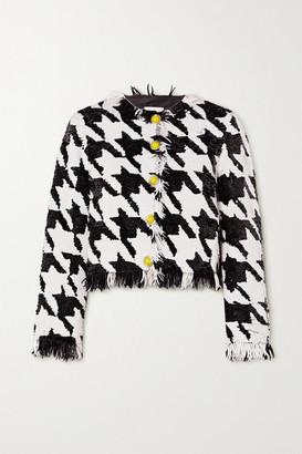 Ashish Fringed Houndstooth Sequined Cotton Blazer - Black