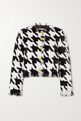 Ashish Fringed Houndstooth Sequined Cotton Blazer