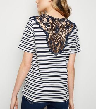 New Look JDY Stripe Crochet Back Top