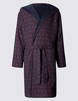 M&s Collection Pure Cotton Fleece Dressing Gown