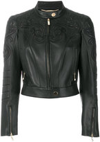Versace embroidered biker jacket
