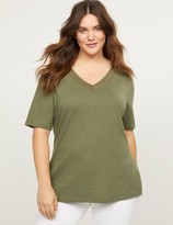 Lane Bryant Perfect Sleeve Tee With Embellished Mesh Inset