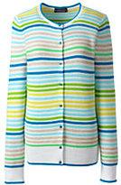 Lands' End Women's Petite Supima Cotton Ottoman Cardigan Sweater-Cyan Multi Stripe