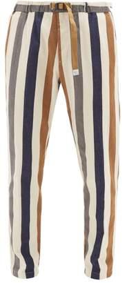 BEIGE White Sand - Striped Cotton-twill Chino Trousers - Mens Multi