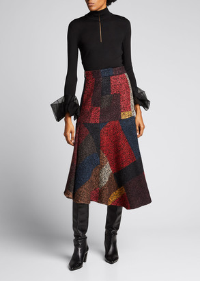 Akris Knit Tulle-Cuff Pullover