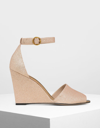 Charles & Keith Glitter Peep Toe Wedges