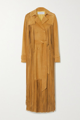 Gabriela Hearst Cattell Fringed Suede Trench Coat - Tan