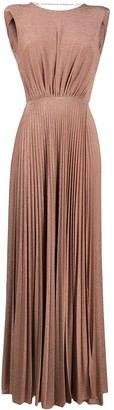 Elisabetta Franchi Pleated Floor-Length Dress