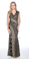 Decode 1.8 Cap Sleeve Lace Panel Fitted Evening Dress