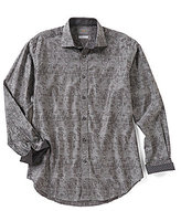 Thomas Dean Big & Tall Jacquard Long-Sleeve Woven Shirt