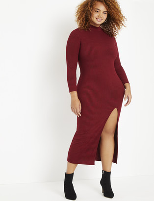 ELOQUII Ribbed Maxi Turtleneck Dress with Slit