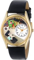 Whimsical Watches Women's C0640005 Classic Gold Psychiatrist Black Leather And Goldtone Watch