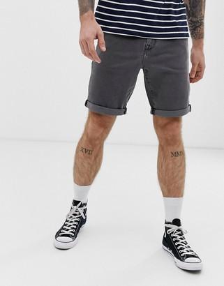 Asos Design DESIGN 12.5oz slim denim shorts in vintage washed gray