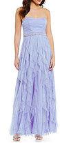 Teeze Me Strapless Glitter Corkscrew Long Dress