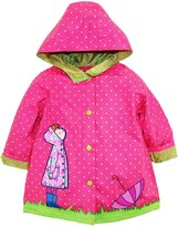 Wippette Little Girls Polka Dot Girl with Umbrella Hooded Raincoat Jacket
