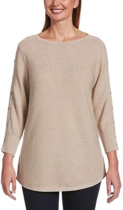 Rafaella Women's Button-Sleeve Tunic Sweater
