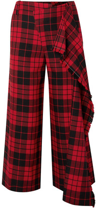 Monse Cropped Checked Wool Wide-leg Pants