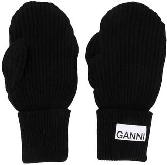 Ganni Logo-Patch Mittens