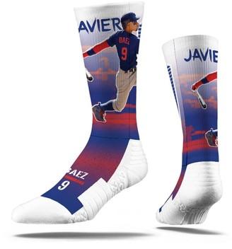 Men's Strideline Javier Baez White Chicago Cubs Full Sublimated Player Crew Socks