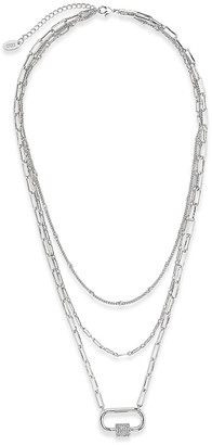 Sterling Forever Rhodium Plated 3 Layer CZ Carabiner Necklace