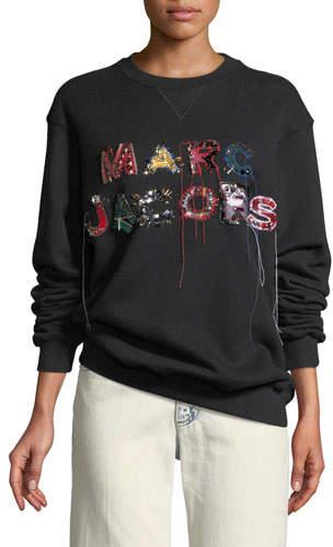 Marc Jacobs Embellished Logo Crewneck Sweatshirt