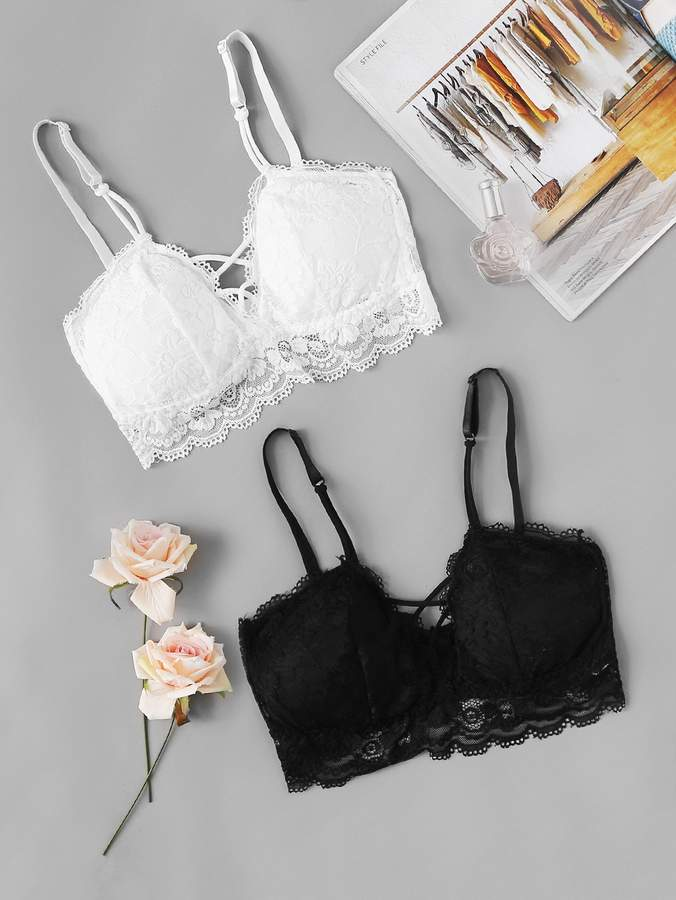 cf9f27049d9c Black Scalloped Bra - ShopStyle