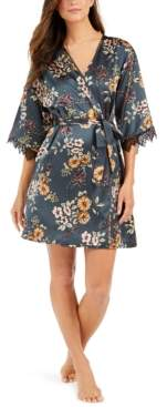 INC International Concepts I.n.c. Short Lace-Trim Wrap Robe, Created For Macy's