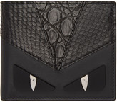 Fendi Black Snakeskin 'Bag Bugs' Wallet