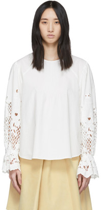 See by Chloe White Poplin Floral Embroidery Blouse