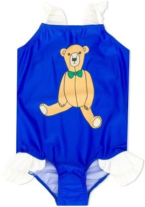 Mini Rodini Teddy-Print Frilled Swimsuit