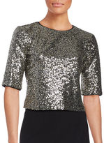 Eliza J Sequined Short Sleeve Cropped Top