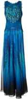 Tadashi Shoji crossed lace detail gown - women - Cotton/Nylon/Polyester - 4