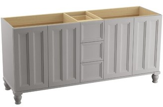 """Kohler Damask 72"""" Vanity Base Only with Furniture Legs, 4 Doors and 3 Drawers, Split Top Drawer Finish: Mohair Grey"""
