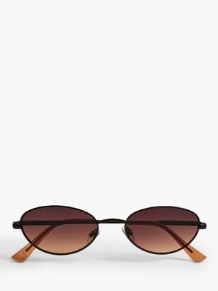 MANGO Women's Oval Shape Metal Frame Sunglasses, Black/Brown Gradient