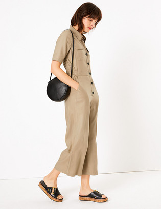Marks and Spencer Linen Button Front Utility Jumpsuit