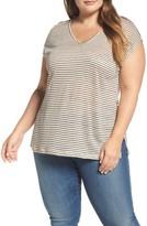 Lucky Brand Plus Size Women's Cold Shoulder Stripe Linen Tee