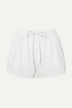 The Upside Track Perforated Shell Shorts - White