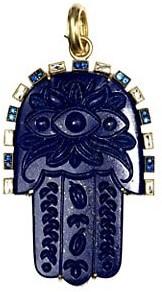 Sylva & Cie Carvings 18K Yellow Gold, Lapis Lazuli, Sapphire & Diamond Hamsa Pendant