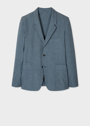Paul Smith Men's Mid-Fit Light Blue Puppytooth Cotton-Linen Blazer