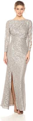 Cachet Women's Long Sleeve Lace Ruched Gown