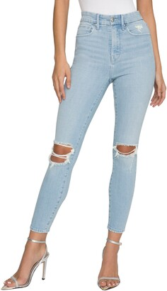 Good American Good Waist Ripped Ankle Skinny Jeans